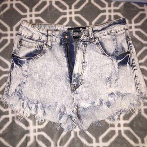 Pants - High waisted jean shorts Distressed Denim
